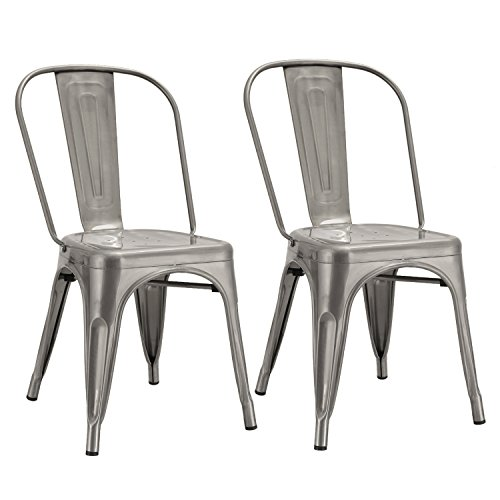 Joveco Sheet Metal Frame Tolix Style Stackable Industrial Bar Chairs With  Back   Set Of 2 (Gunmetal) Wholesale Price