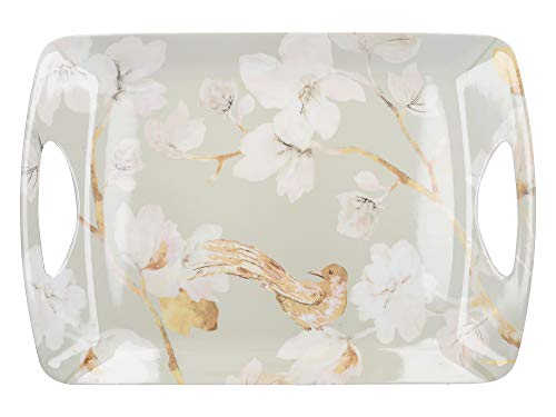 Creative Tops Large Plastic Tray/Serving Tray with 'Duck Egg Floral' Design, Melamine, Duck Egg Blue, 47.5 x 33 cm