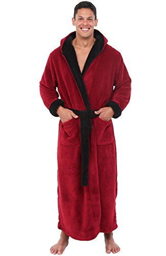 Alexander Del Rossa Mens Fleece Robe, Long Hooded Bathrobe, Large XL Burgundy with Black Contrast (A0125BRBXL) by Alexander Del Rossa