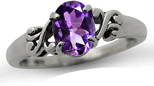 1.13ct. Natural African Amethyst 925 Sterling Silver Victorian Style Solitaire Ring