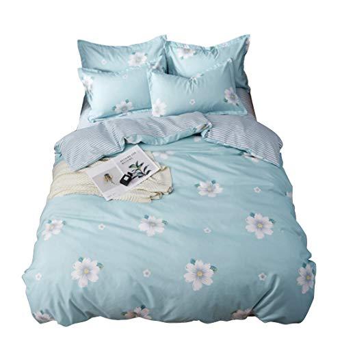 Cijfay Ensemble de housse de couette en en en tissu de coton 4 pièces avec taie d'oreiller en drap de lit avec fermeture à glissière (Size : Full) bb69f7