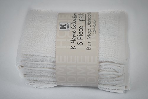 Cotton Bar Mop Dishcloth, 12 by 12-inches, Set of 6, White - Great for mopping everyday kitchen and liquid spills, everyday dish towels, white washcloths (Bakers And Chefs Bar Mops)