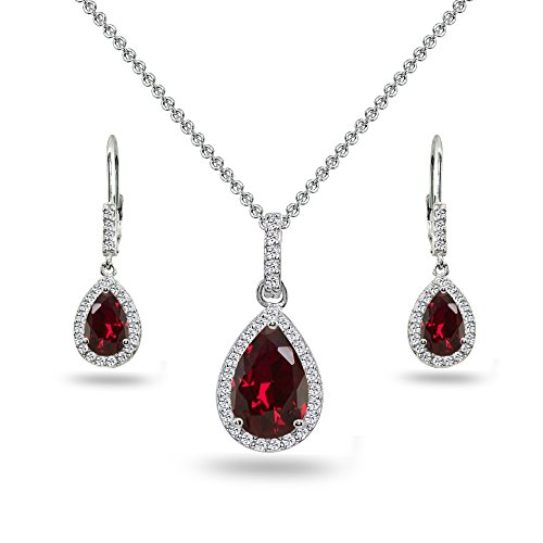 Sterling Silver Created Ruby & White Topaz Teardrop Halo Dangling Necklace & Leverback Earrings