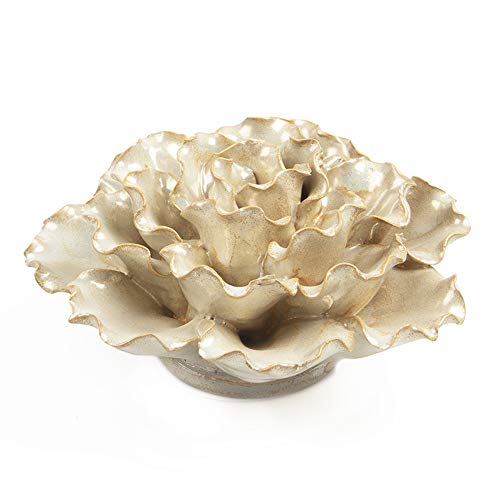 - Chive - Ceramic Decorative Flower, Table Top and Wall Hanging, Unique Tablescape and Wall Art Installation (Large Opalescent Pearl White Flower)