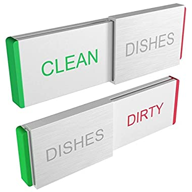 DISHWASHER Magnet CLEAN DIRTY Sign Indicator Elegant Aluminum New Kitchen Gadgets for Dishes Cleaning Home Organizer and Dish Washer Magnetic or Adhesive Backing Glide Signs Works on ALL Dishwashers