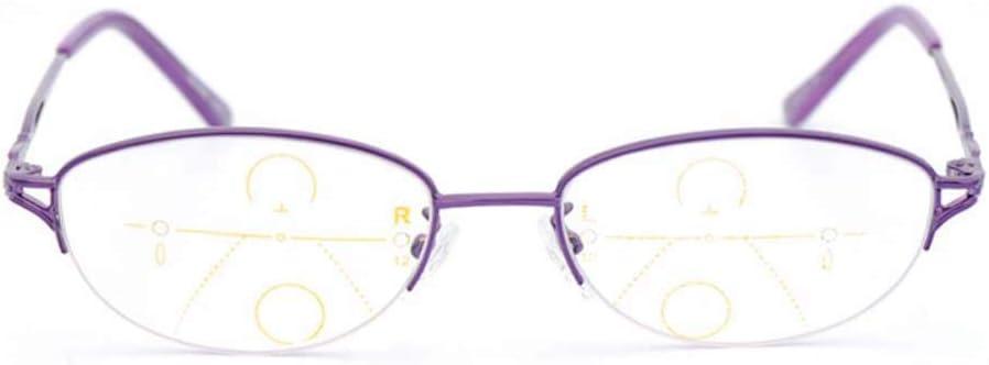 Gafas de protección contra la radiación ultravioleta para mujeres, lentes multifocal progresivas Bisagra de resorte Gafas de lectura para el sol,Purple,+1.5