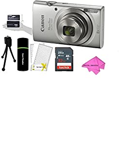 Canon PowerShot ELPH 180 20MP 8x Zoom Digital Camera (Silver) + 32GB Card + Reader + CANON PSC-2070 CASE + Accessory Bundle