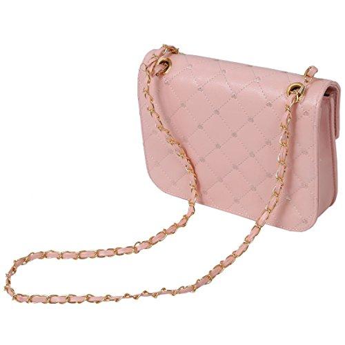 SODIAL(R) Bolso de moda popular de los embragues para mujer Bolso de noche de Corazon de melocoton de cuero de cadena de hombro bolso de mensajero para mujer ¨C Beige Beige
