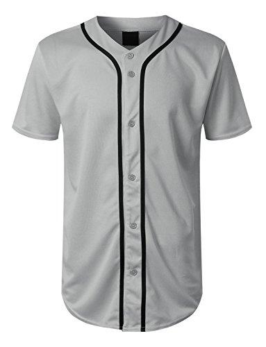 URBANCREWS Mens Hipster Hip Hop Basic Solid Baseball Jersey Shirt Grey, XXXL by URBANCREWS