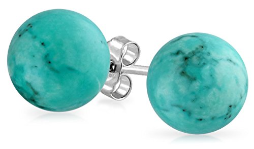 Simple Gemstone Stabilized Turquoise Round Ball Stud Earrings For Women 925 Sterling Silver 8 MM