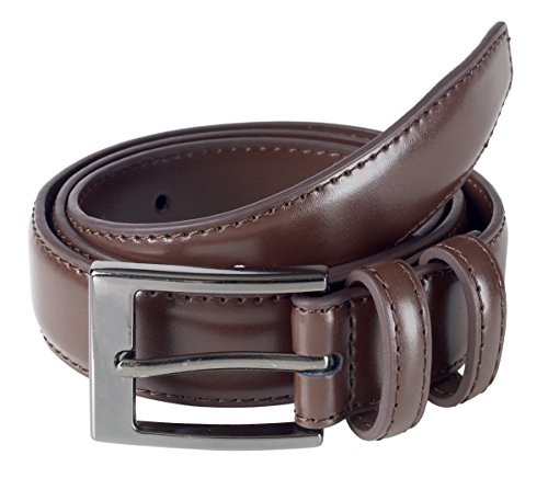 Sportoli Men's Classic Stitched Genuine Leather Dress Uniform Belt - Brown (Size 36)
