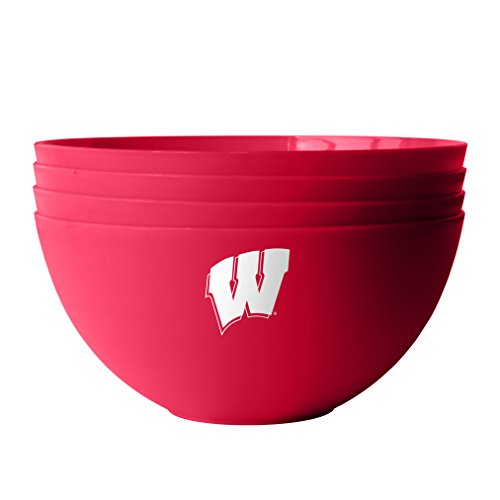 NCAA Wisconsin Badgers Plastic Bowls, 4-Pack