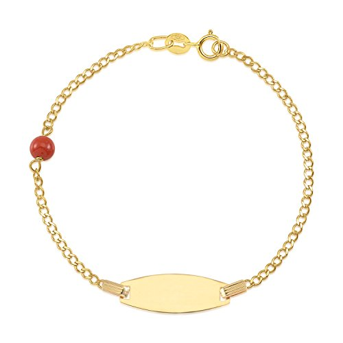 UNICORNJ Kids 14K Yellow Gold Bowed ID Bracelet Red Bead Accent Curb Chain 5.5