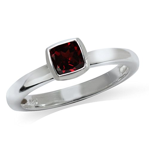 Cushion Cut Garnet 925 Sterling Silver Stack/Stackable Solitaire Ring Size 4.5 ()