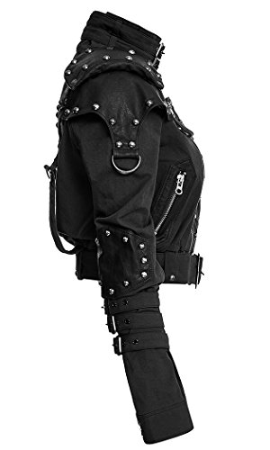 Chaqueta Negra Militar con extremos efecto armadura y correas uniforme mujer Punk Rave negro