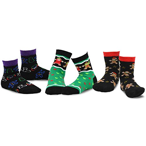TeeHee Christmas Kids Cotton Fun Crew Socks 3-Pair Pack (3-5 Years, Gingerbread Man Xmas Lights) ()