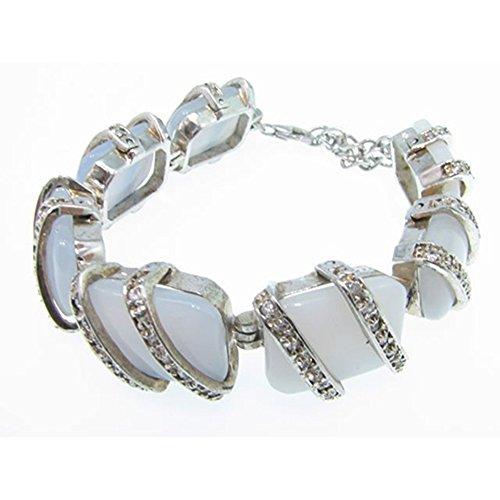 Bracelet en Argent avec perles et zircones calcedonia