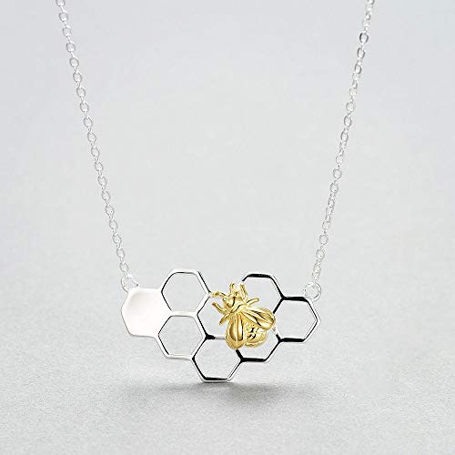 Design Silver Gold Color Collare with Bee Pendant Necklace Honeycomb Honeybee ()