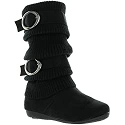 New Girls Slouch Comf Tall Midcalf Suede Winter Boots Shoes 11 M Little Kid Black ZARA