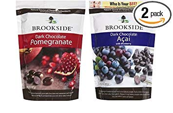 Brookside Dark Chocolate Pomegranate and Fruit Flavors Candy, 32-Ounce Bag and Brookside Dark Chocolate Acai and Blueberry Flavors Candy, 32-Ounce Bag (Pack of 2) by Brookside