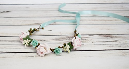 Handcrafted Mint Ivory Gold and Pastel Pink Flower Crown - Pink Rose Flower Halo - Woodland Crown - Flower Girl Halo - Aqua Flower Crowns