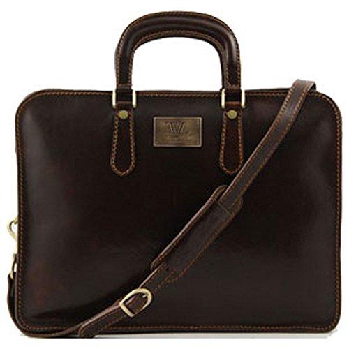 Tuscany Leather - Serviette cuir- Marron foncé - Homme