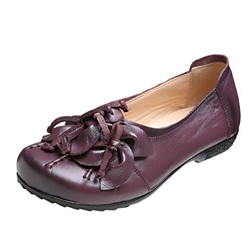 Plástico Ons Zapatos Topline Vogstyle de Mujer de ZMY001 Único Slip Handmade 2 Suela Exclusivo Nuevo Cuero púrpura Estilo SwCfqC