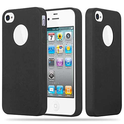 Cadorabo Case Works with Apple iPhone 4 / iPhone 4S in Candy Black - Shockproof and Scratch Resistant TPU Silicone Cover - Ultra Slim Protective Gel Shell Bumper Back Skin