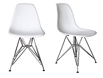 Chelsea Eames Eiffel DSR (Metal Base) Molded Plastic Dining Chairs (White    Set