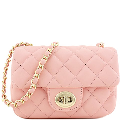 Mini Classic Quilted Chain Shoulder Bag Pink