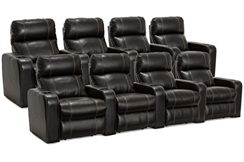Leather Home Theater Seats Recliner (Lane Dynasty Black Bonded Leather Home Theater Seating - 2 Rows of 4 Seats (8 Recliners) - Power Recline)