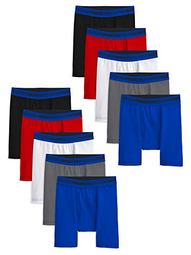 Fruit of the Loom Boys' 10 Pack Moisture Wicking Sport Boxer Brief, Assorted Color, Large