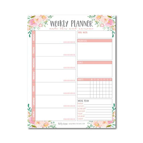 Pink Floral Undated Weekly Family Calendar Planner Pad, Mom Monthly to Do List Desk Paper Notepad, Week Day Weekend Organizer, Personal Goal Habit Tracker, Kids School Productivity, 50 Tear Off Pages