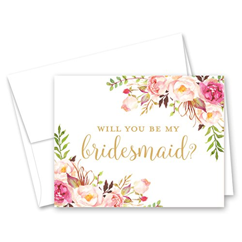 Pink Floral Bridal Party Proposal Cards - Set of 12
