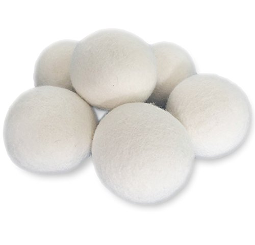 Wool Dryer Balls By Eurybia 6   Pack  Xl Premium  Non Toxic  Reduce Drying Time  Anti Static  Reusable Natural Fabric Softener