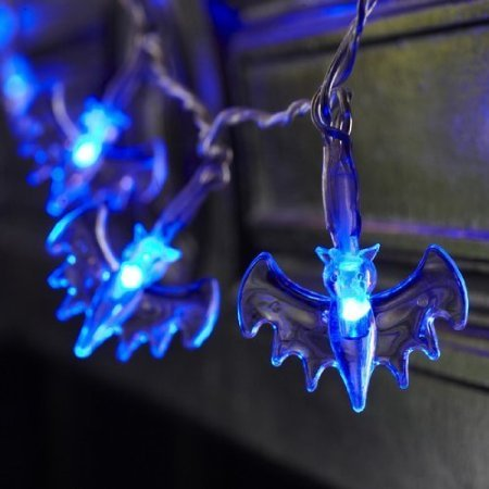 Domire Battery Operated LED Fairy String Lights 20 Blue Bat Lights Halloween Decoration Lights]()