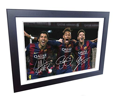 Signed Black Soccer Lionel Messi Neymar Jr Suarez Barcelona Autographed Photo Photograph Picture Frame Gift SM (Messi Signed Ball)