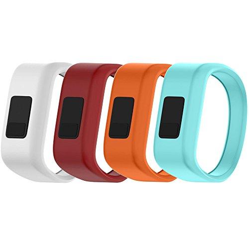 QGHXO Band for Garmin Vivofit Jr/Vivofit Jr. 2, Soft Silicone Replacement Watch Band Strap for Garmin Vivofit Jr/Vivofit Jr. 2 Activity Tracker, Small, Large (4PCS Bands-Girl, Small: 5.7″)