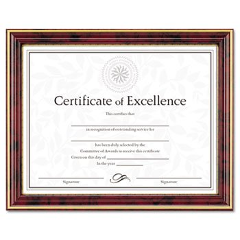 - GoldTrimmed Document Frame w/Certificate Wood 81/2 x 11 Mahogany