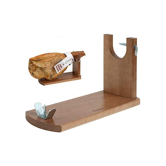 Tipo de accesorio: Soportes jamoneros El jamonero Banqueta de Jamonprive está fabricado en madera de pino. La tabla mide 40 x 16 x 1, 8 cm, y el brazo está fabricado con madera FSC.