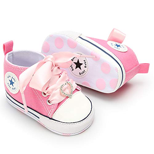 3-18 Months Unisex Baby Boys Girls Star High Top Sneaker Soft Anti-Slip Sole Newborn Infant First Walkers Canvas Polka Dots Shoes