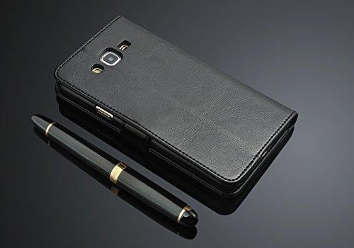 cubierta del soporte de la tarjeta para Samsung Galaxy J7 2016 J710F J710 caja del teléfono de cuero cubierta de la carpeta del tirón para el Galaxy Smasung J7 Negro