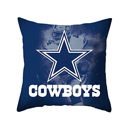 Nfl Decorative Pillow - MT-Sports Football Super Bowl Throw Pillow Covers Pillow Cases Standard Size Decorative Pillowcase Protecter with Zipper 18x18 Inches Without Insert Set of 2 (Dallas Cowboys)