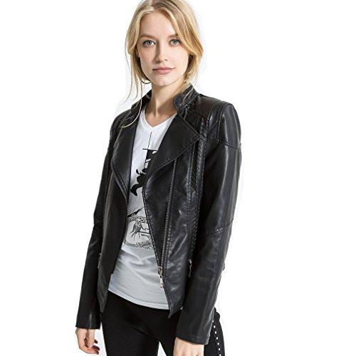 LIANGLIANG Women's Faux Leather Moto Biker Short Coat Jacket (2XL, Black - Biker Costume Jacket