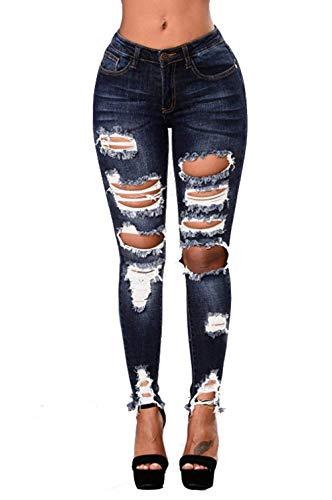 Ripped Jeans Pantalones Pencil Skinny Con Distressed Mujeres Delgados Battercake Vaqueros Casuales High Y Stretchy Acogedores Pocket Multi Oscuro De Azul 04wCxq