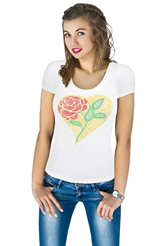 - Fashion Women's t-Shirt with Hot-Fix Sequins, Slim Fit, Cute Sparkly Applique