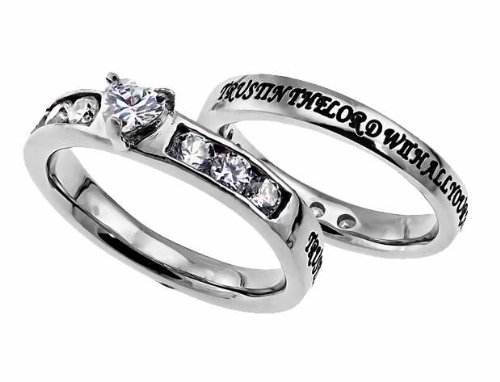 """Christian Womens Stainless Steel Abstinence Proverbs 3:5 """"Trust in the Lord with all your heart"""" Heart Princess Solitaire Chastity Ring for Girls – Girls Purity Ring – Comfort Fit Ring"""