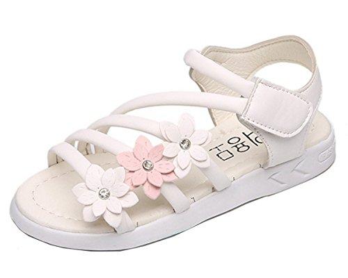 YOGLY Mädchen Böhmen RömerSandalen Blumen Klettverschluss Prinzessin Schuhe Flip Weich Sandalen Baby Flat Badeschuhe Flip Flops Outdoor Geschlossen Gelb