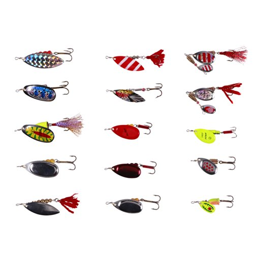 Free Fisher Pike Musky Salmon Bass Fishing Lures Rooster Tail Spinner Baits Spoons Set
