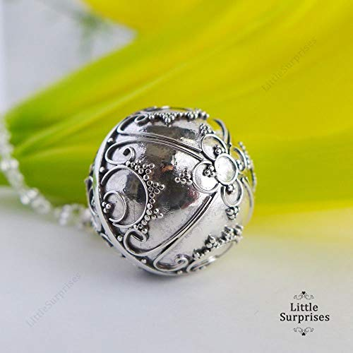 20mm You Are My Sunshine Chiming Sound Harmony Ball Sterling Silver Pendant 30